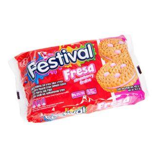 Festival Dobbelt Biscuit Jordbær 403g